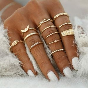 Jewelry - Bohemian Gold Stackable 12 Ring Set